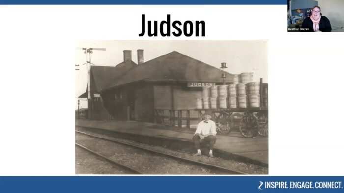 Judson, Minnesota railroad c.1920, part of BECHS' virtual tour of Western Blue Earth County
