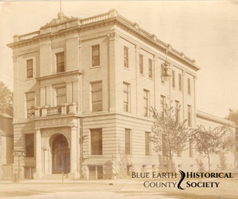 One of Mankato's Clubs, Original Building of the YMCA on Front Street, Sepia toned image, c.1900