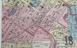 A portion of the 1893 Mankato City Map in color showing Thomas Warren's first Addition.