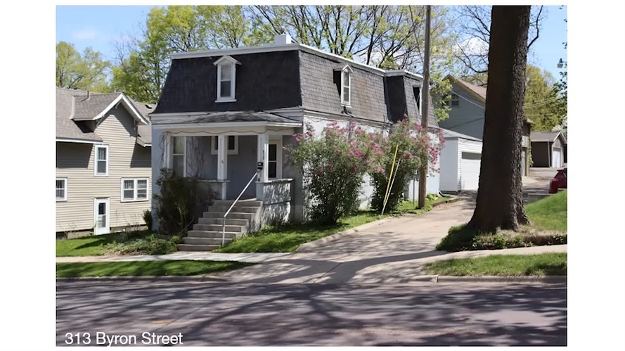Present day view of 313 Byron Street, Mankato, as seen in the Silk Stocking Stroll Part 2, a virtual walking tour from BECHS.