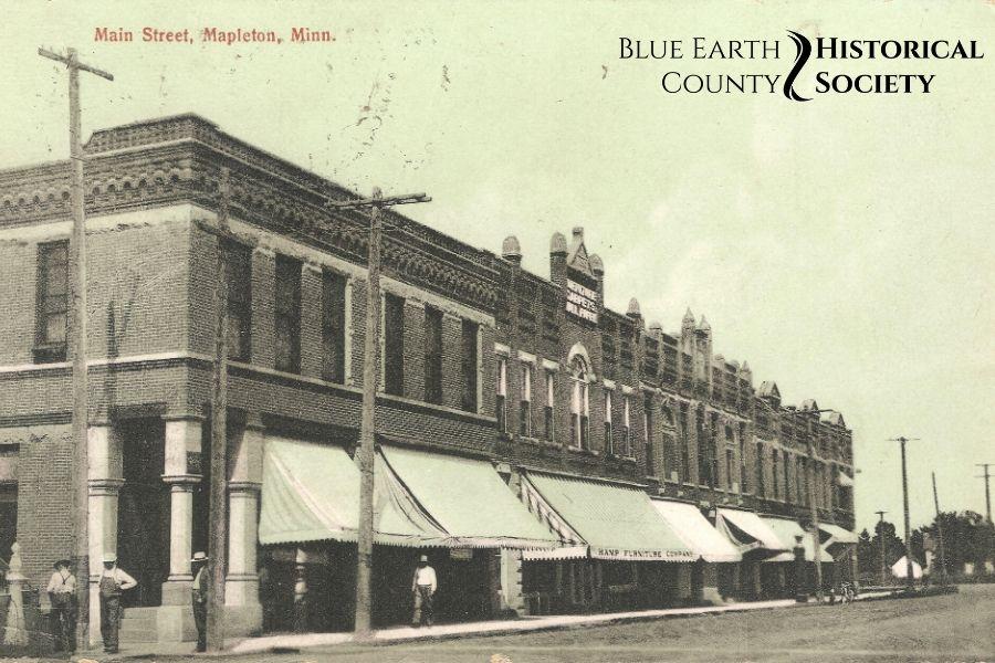 Mapleton Main Street C. 1900, hazy blue/sepia toned