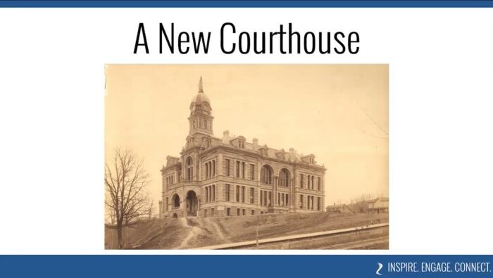 Historic photo of the Blue Earth County Courthouse in Mankato, MN, shortly after construction