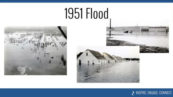 Images of the Minnesota River flood in the spring of 1951, causing damage to the North Mankato area.