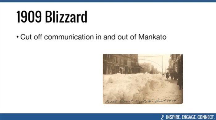 1909 Mankato from BECHS Historic Blizzards presentation.