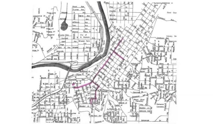 Map of downtown Mankato with the route of the street car line highlighted